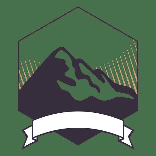 Insignia de etiqueta de montaña con cinta