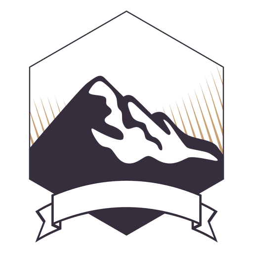Mountain label badge with ribbon Transparent PNG