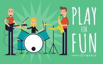música plana ilustración banda