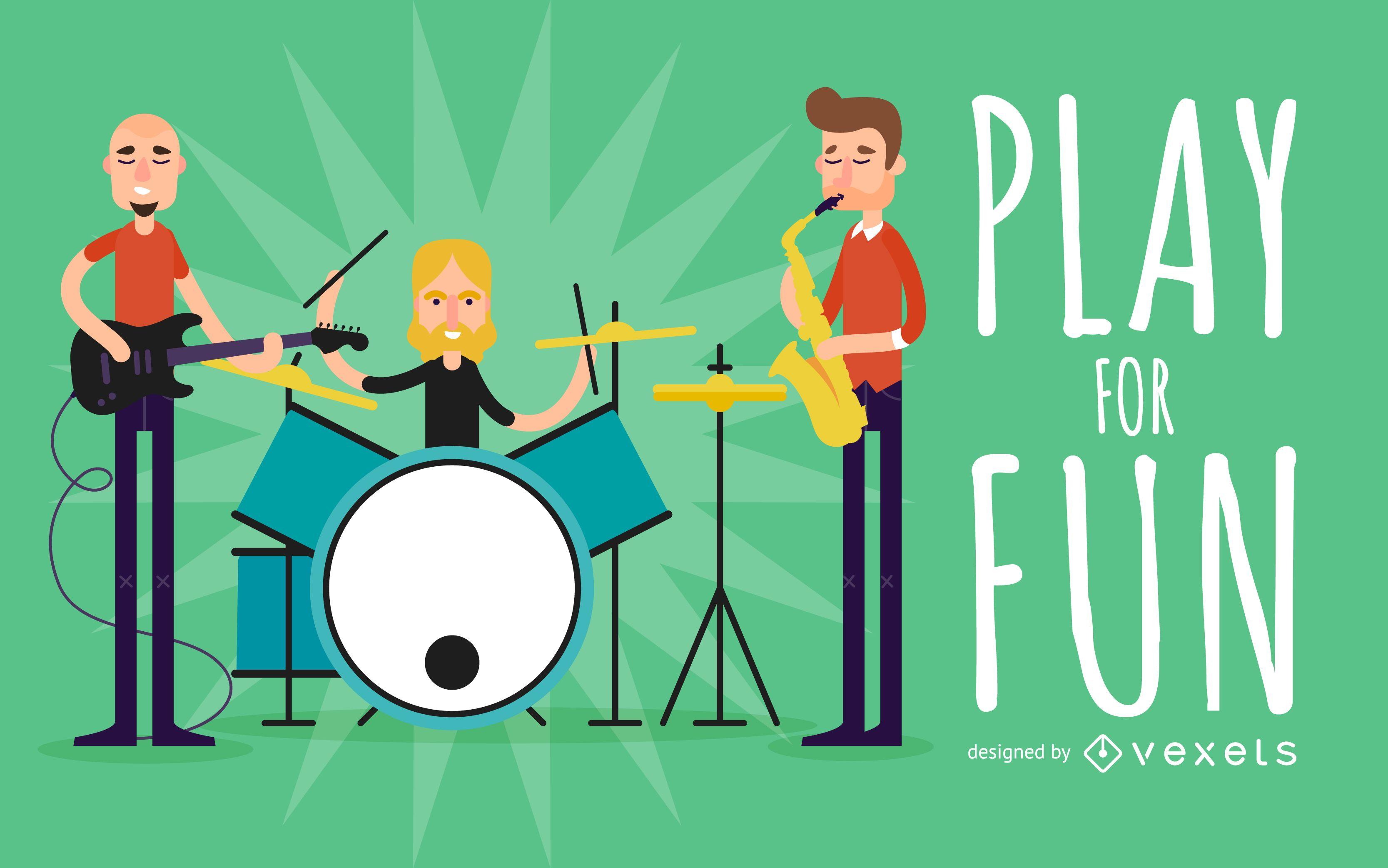 Ilustração de banda de música plana