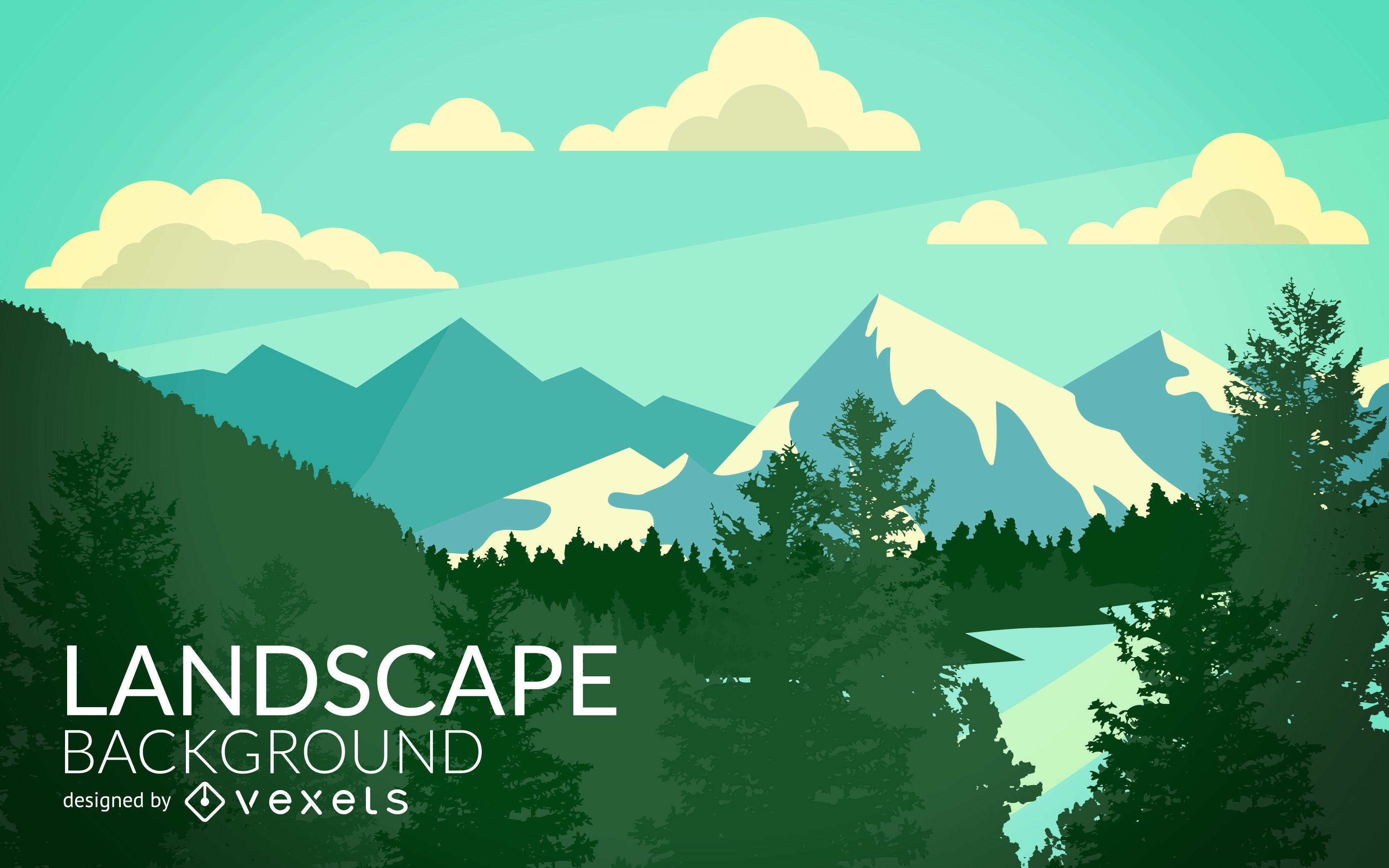 Flat mountain woods landscape