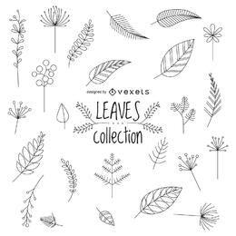 Dibujado a mano hojas set diseño