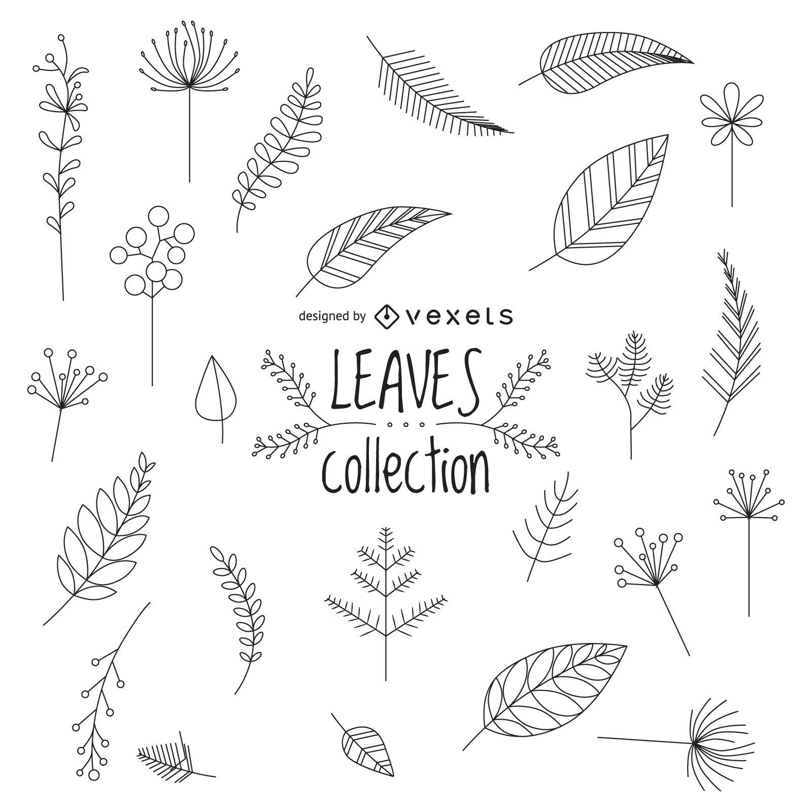 Diseño de conjunto de hojas dibujadas a mano