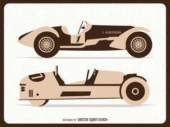 Vintage flat racing cars illustrations
