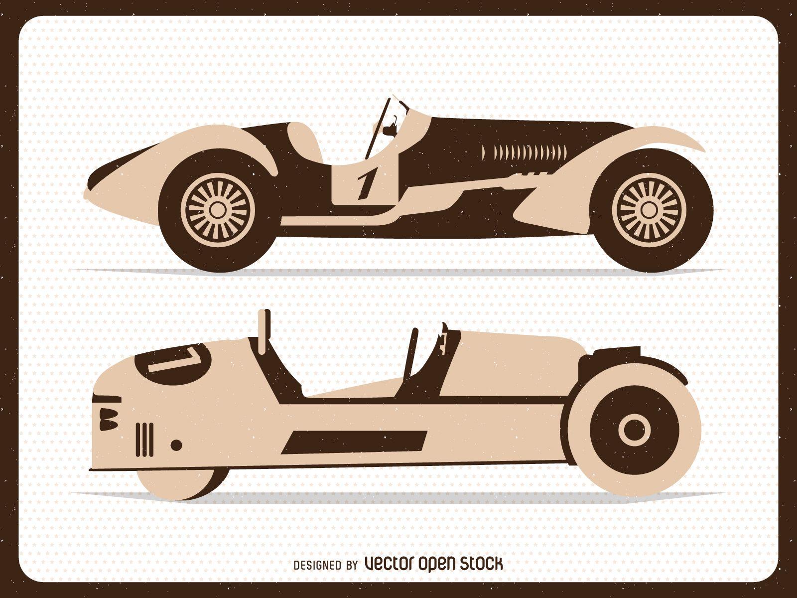 Vintage flat racing cars illustrations - Vector download