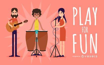 Músicos que jogam a ilustração