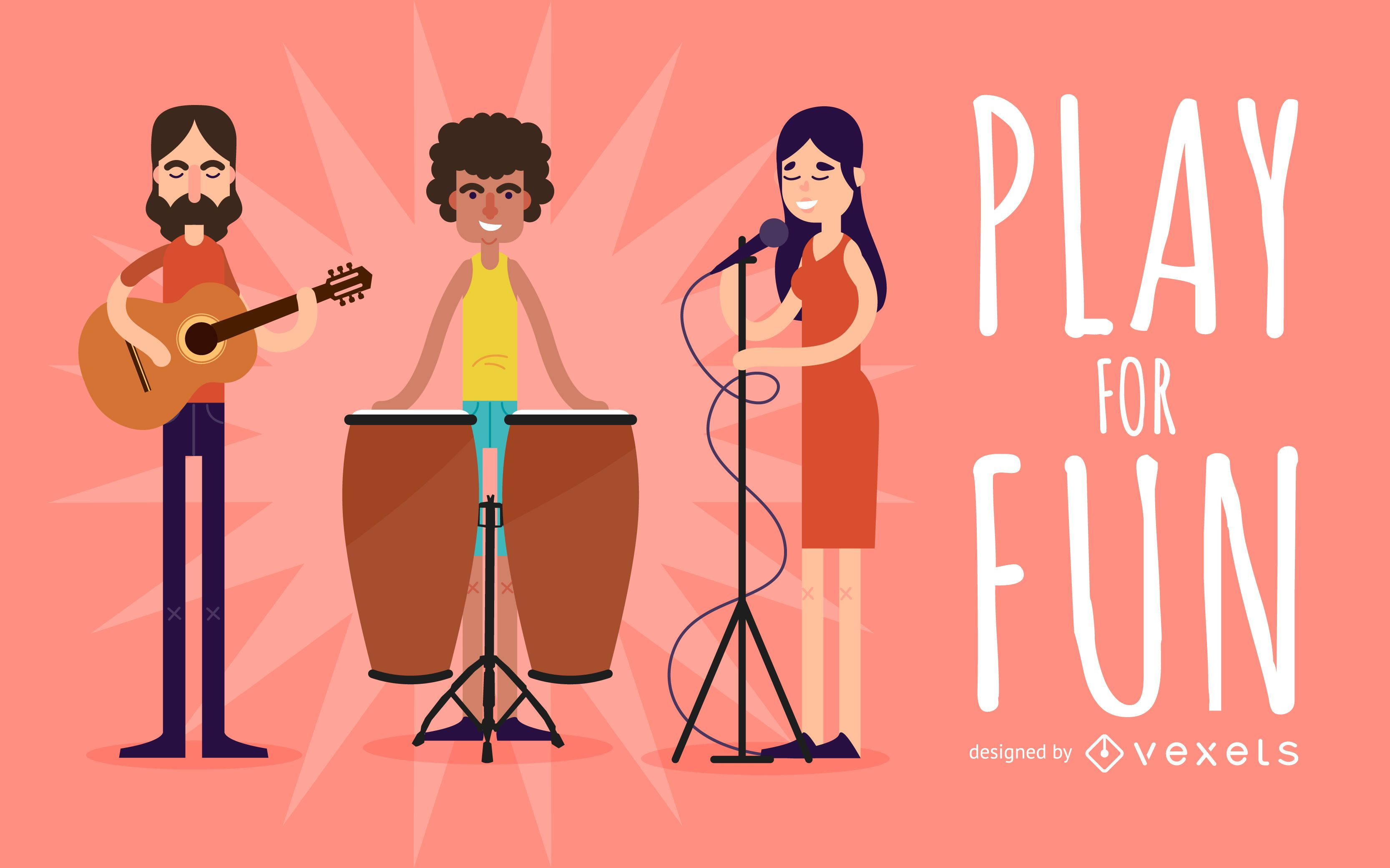 Musicians playing illustration