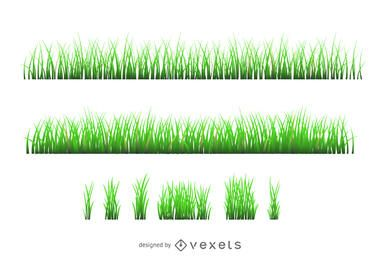 Gras-Illustrationsschattenbildsatz