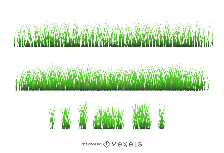 Conjunto de silueta de ilustraci?n de hierba
