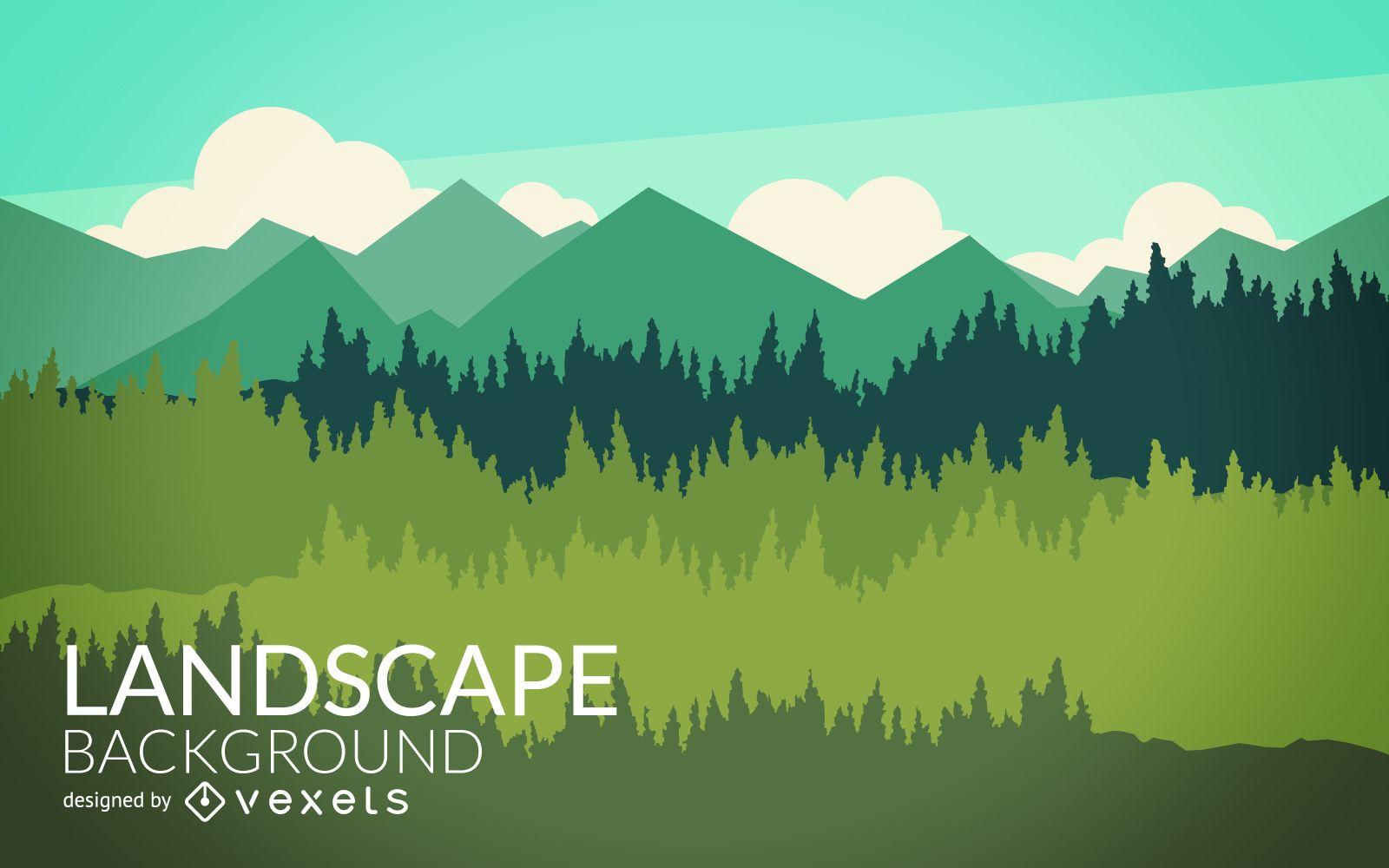Landscape Illustration Vector Free: Flat Nature Landscape Design