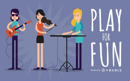 Banda de música de la ilustración plana