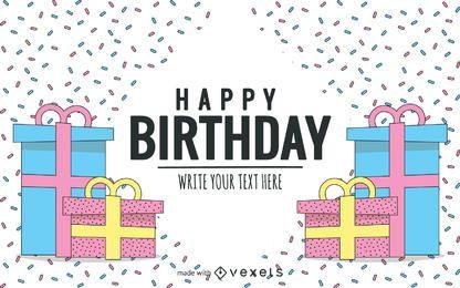 Cartão de aniversário desenhado à mão em tons pastel