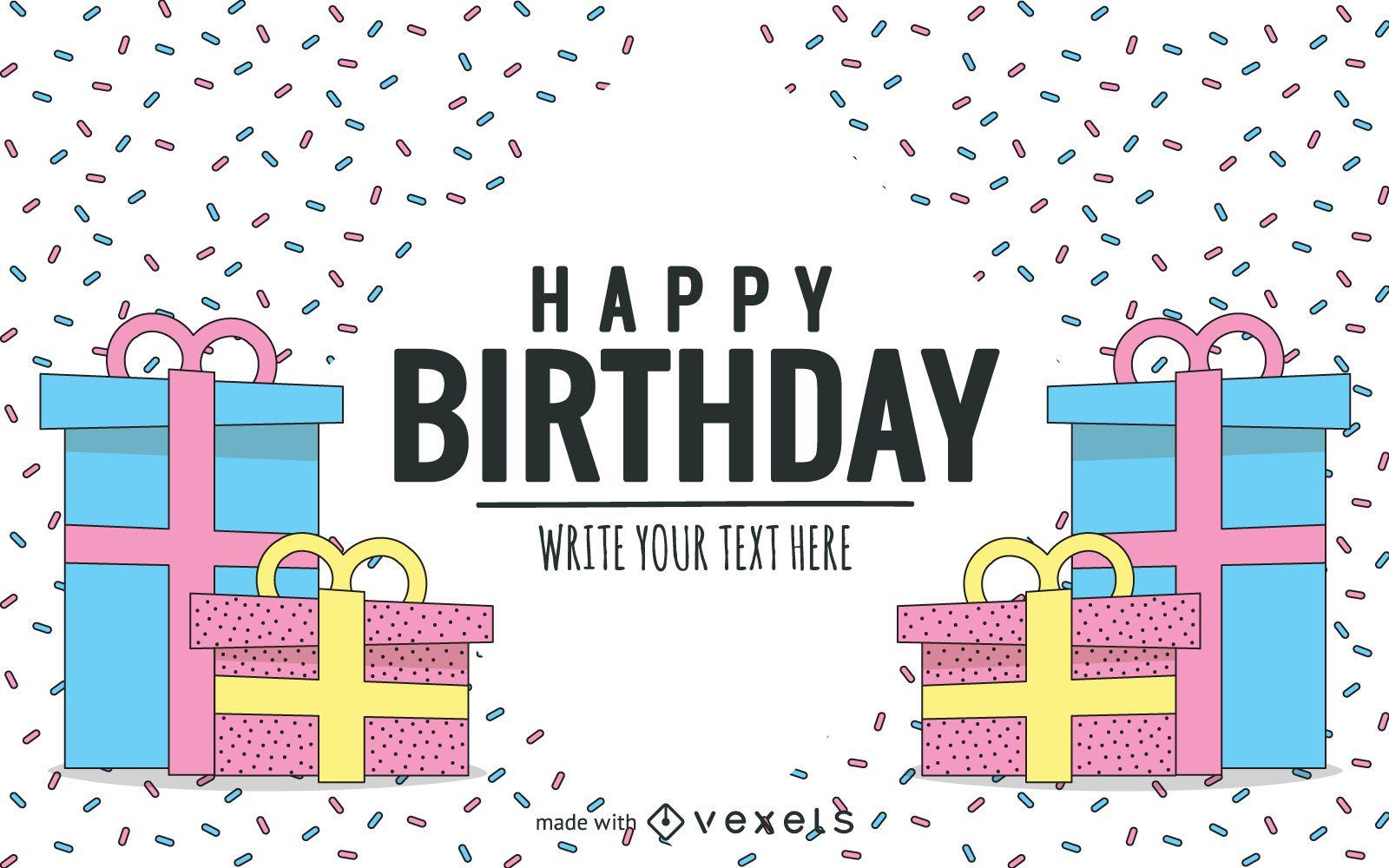 Hand-drawn pastel Birthday Card