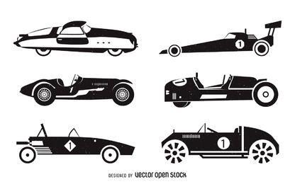 Conjunto de silhueta de carros de corrida vintage