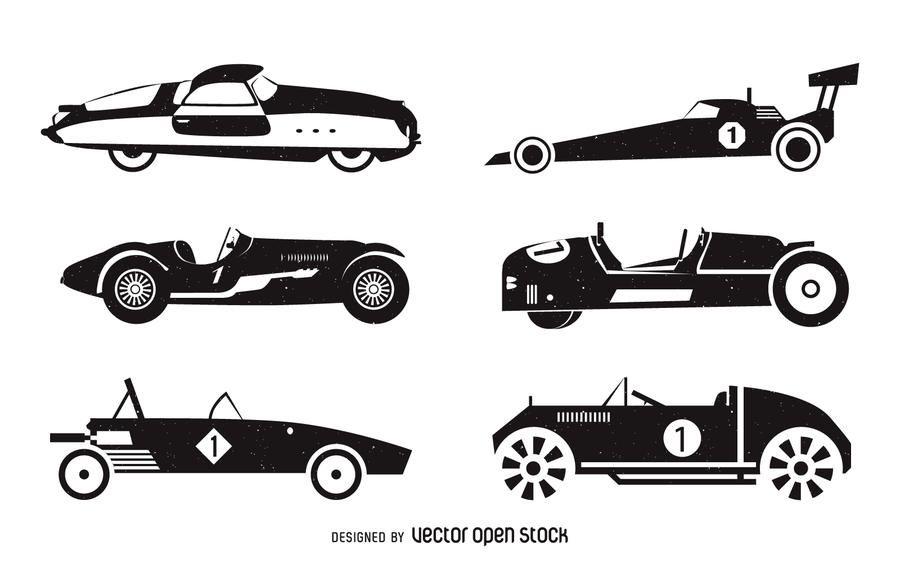 Conjunto de silueta de coches de carreras vintage