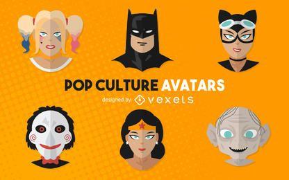 Ilustrações de avatares de filme de cultura pop