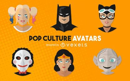 Pop culture movie avatars illustrations