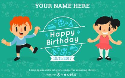 Aniversário dos miúdos Cartão do convite do Criador
