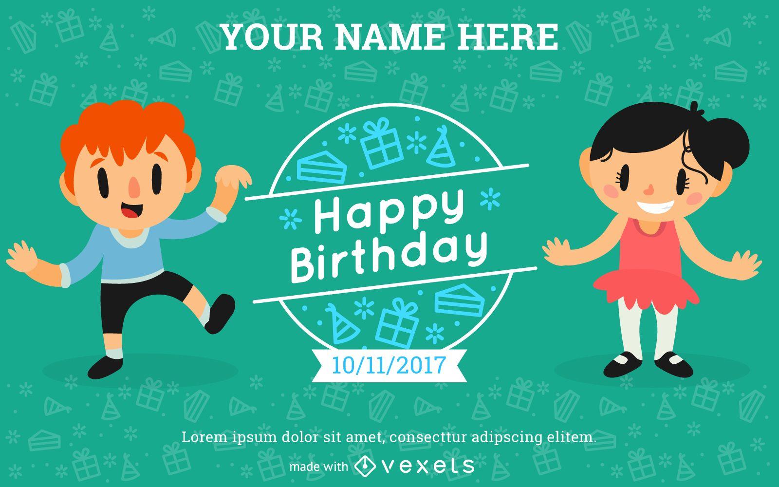 Kids Birthday Invitation Card Maker Editable design