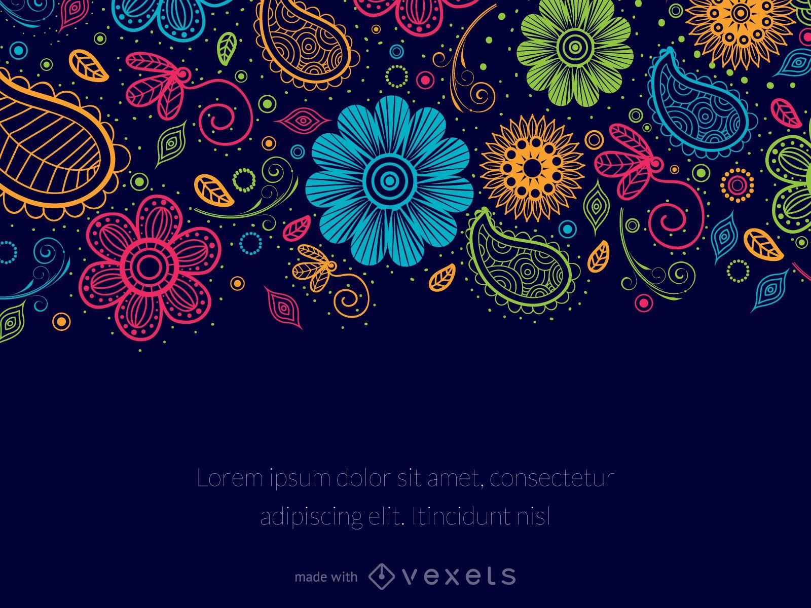 Paisley Floral Message Editor Editable Design