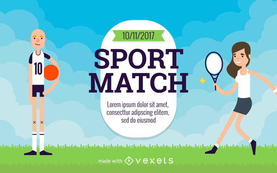 Criador de flyer de esportes dos desenhos animados