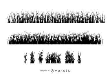 Coleção de silhueta de ilustração de grama