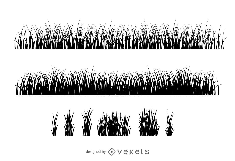 Colecci?n de silueta de ilustraci?n de hierba