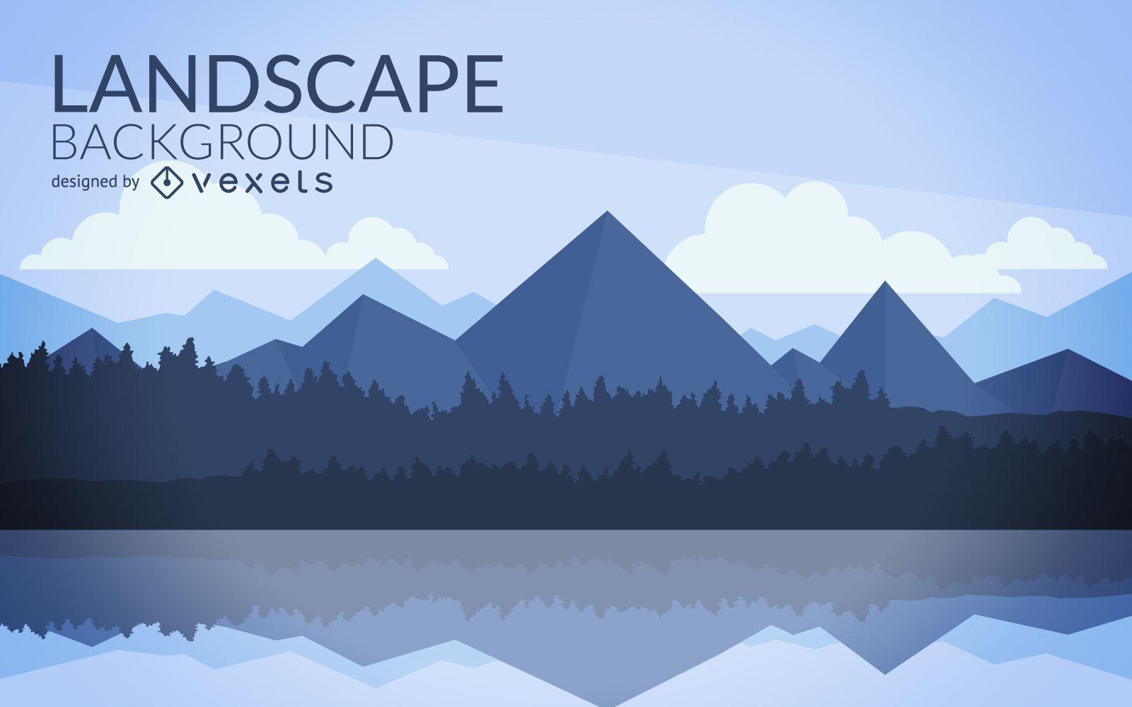 Flat mountain landscape design vector download for Mountain landscape design
