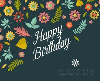 máquina de cartão de aniversário floral