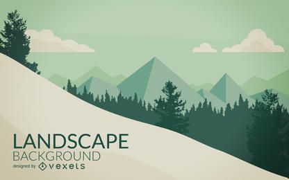 Montanha com ilustração de paisagem de neve