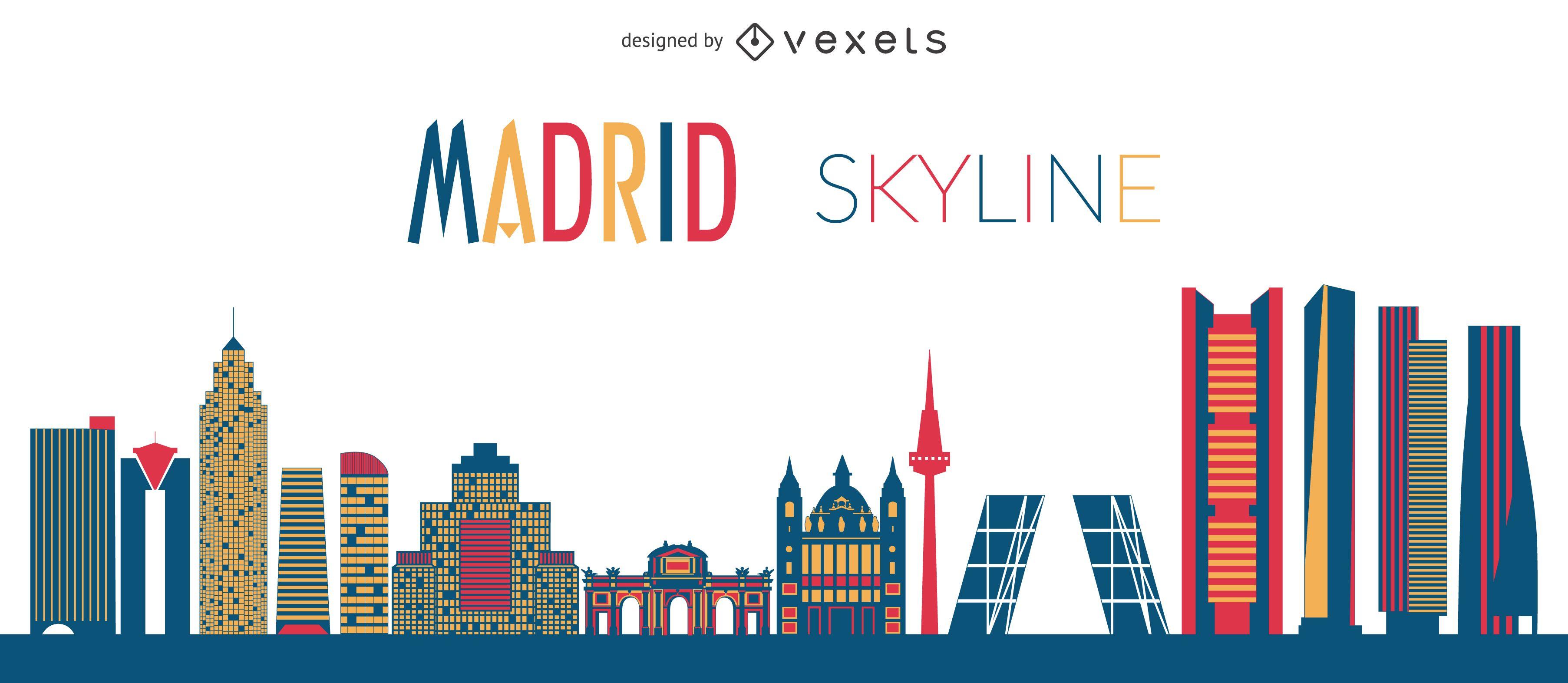 Flat Madrid skyline silhouette