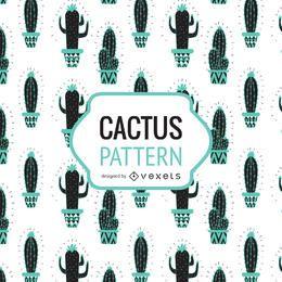 Dibujado a mano patrón de cactus en tonos de azul