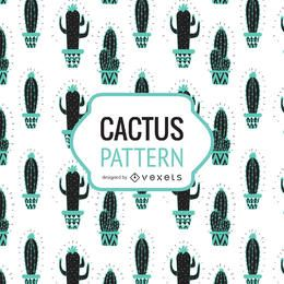 Hand drawn cactus pattern in tones of blue