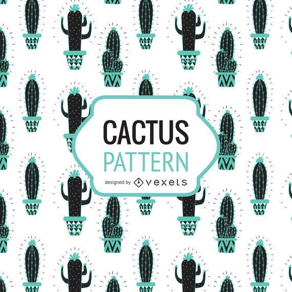 Dibujado a mano patrón de cactus en tonos de azul.