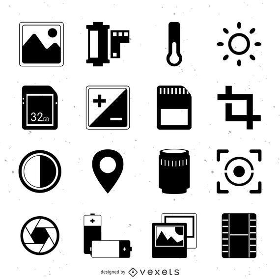 Coleção de ícones de fotografia plana