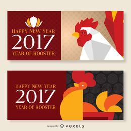 Conjunto de banner do ano novo chinês de 2017
