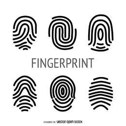 Flache Fingerabdruckillustrationssammlung