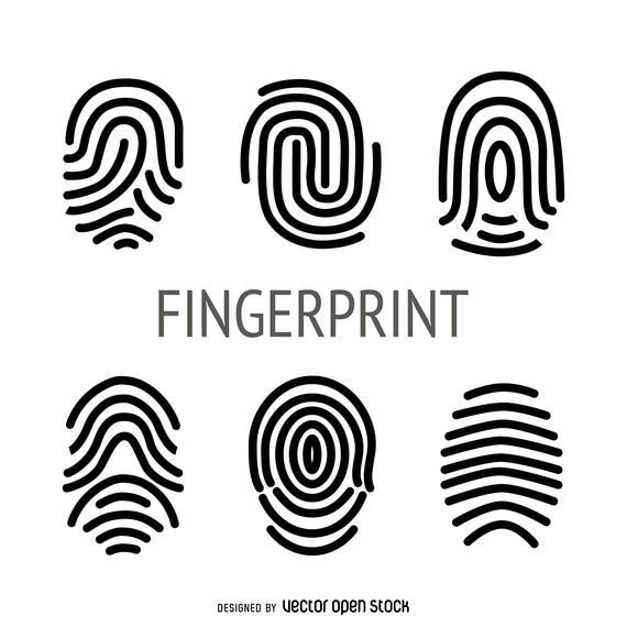 Flat fingerprint illustration collection