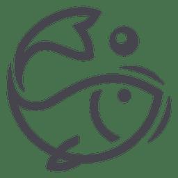 Icono de logotipo de pescado de pesca