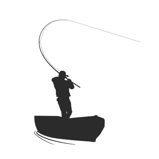 Pescador de pesca en el barco Transparent PNG