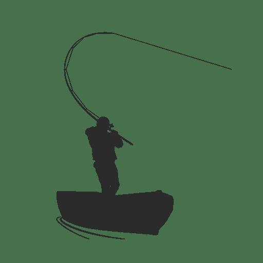 Pescador pescando em barco