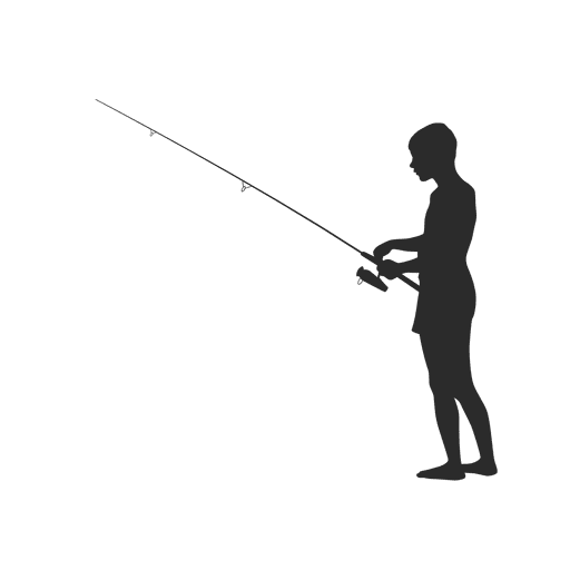Silhouette of fisherman fishing png