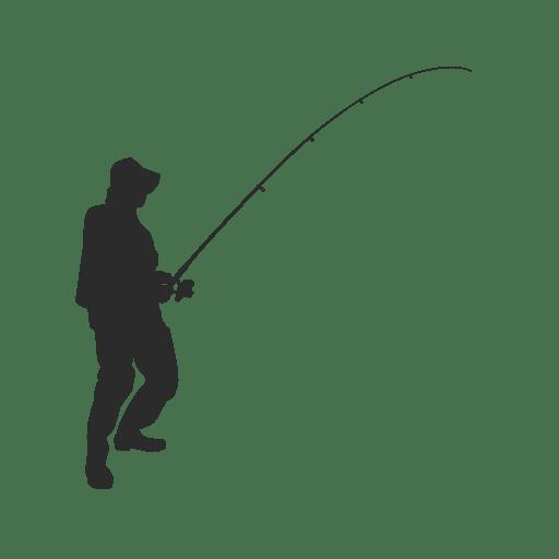Silueta de pescador de pesca