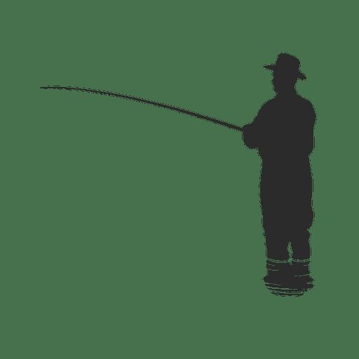 Pescador de pesca en el agua