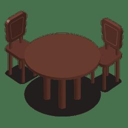 Isometrischer Tisch mit Stühlen