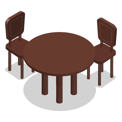 Isometric table with chairs Transparent PNG