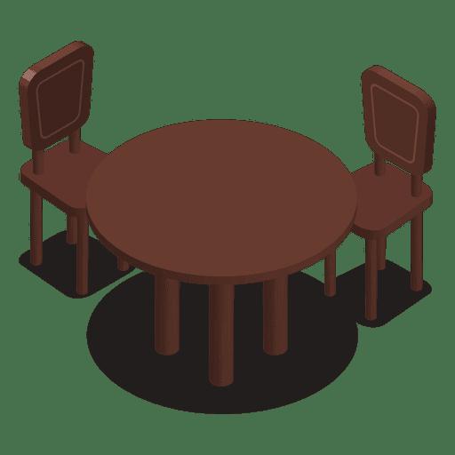 Mesa isométrica com cadeiras Transparent PNG