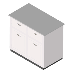 Isometric white table home illustration