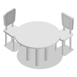 Isometric home table with chairs