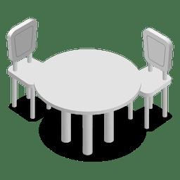 Tabla de inicio isométrica con sillas
